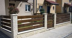 Iron Gate Design, House Gate Design, Fence Design, Patio Fence, Brick Fence, Front Yard Fence, Dover House, Philippines House Design, Wood Picket Fence