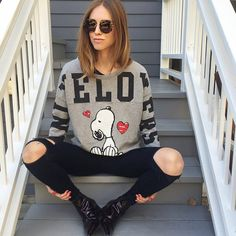 Back in Los Angeles on my favorite stairs @aniyeby Snoopy sweater #AniyeBy #TheBlondeSaladGoesToHollywood