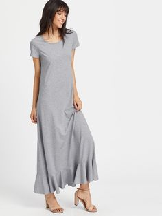 4dab3abcaa8 SheIn offers Ruffle Trim Heathered Maxi Tee Dress   more to fit your  fashionable needs.