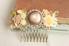 Latte and Peach Haircomb, bridesmaids haircomb, peach flowers, pretty hair accessory, gift for her, vintage collage hair comb, $65.00