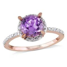 7.0mm Amethyst and Diamond Accent Engagement Ring in 10K Rose Gold