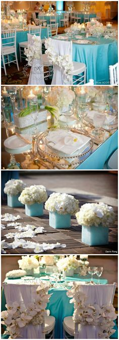 Tablescape & Reception Décor ● Turquoise & White  for #teal or turquoise Wedding ... Wedding ideas for brides, grooms, parents & planners ... https://itunes.apple.com/us/app/the-gold-wedding-planner/id498112599?ls=1=8 … plus how to organise an entire wedding ♥ The Gold Wedding Planner iPhone App ♥