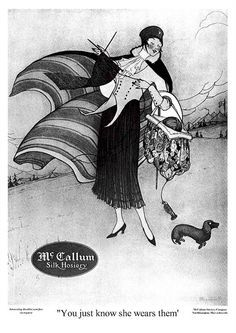 McCallum Silk Hosiery (October 1917) with Dachshund - You just know she wears them
