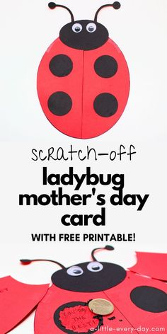 This adorable ladybug card is easy to make with the included template, and contains fun secret messages that can be scratched off with a coin! Perfect for Mother's Day or any other occasion! Mothers Day Crafts For Kids, Diy Mothers Day Gifts, Crafts For Kids To Make, Craft Activities For Kids, Homemade Birthday Cards, Birthday Gifts For Sister, Easy Homemade Gifts, Homemade Crafts, Mothersday Cards