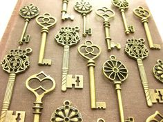 30 Large Skeleton Key Collection antiqued by PineappleSupply, $19.99