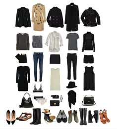 Wardrobe basics for the stylish lady,  I would make one of the dresses patterned and maybe trade the white button down for a white jersey blouse (lower maintenance)