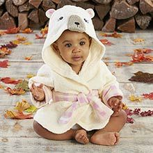 Beary Bundled Cream and Pink Hooded Robe (Personalization Available) ~ BA14055NA