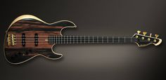 "Meridian Guitars Jazz Evolution 4 Exotic.  Body: Ash Top: Ebony Neck: Maple (1986) Fretboard: Phenolic Resin 21 frets 16"" radius Tuners: Hipshot gold Bridge: Babicz FCH gold Pickup: Mama Pickups Preamp: Meridian Trinity (Vol, Hi, Mid, Bass, Active passive switch, Passive tone)"