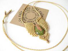 Small Macrame Pendant w/ Unakite Stone . Natural Tones . Micromacrame Necklace Quartz Jewelry . Hippie Chic Woodland Reiki Yoga . by raiz