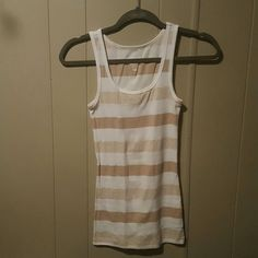 Perfect Tank Top Old Navy Perfect tank top. White with cream and tan stripes. Worn once, excellent condition. Old Navy Tops Tank Tops