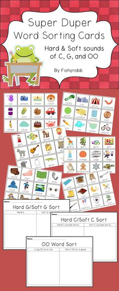 Hard and Soft C and G WORD SORTS Literacy Center Word sorts for hard and soft C, hard and soft G, and the short and long OO sounds. Includes 71 illustrated word cards and 3 student recording sheets. Spelling And Grammar, Spelling Words, Oo Words, Montessori, First Grade Phonics, Letter Sounds, Abc Sounds, Illustrated Words, Phonics Words