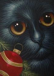 Art: HOLIDAY BLACK CAT 1ST ORNAMENT by Artist Cyra R. Cancel