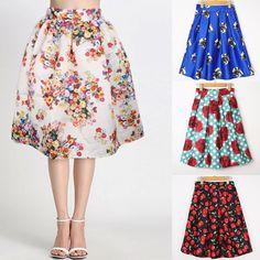 16 Colors New 2014 Spring Summer Vintage Cherry Flower Print Ball Gown Pleated Midi Skater Skirt Saia For Women Girl 14513