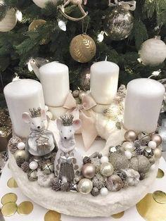Snowy Christmas Tree, Christmas Advent Wreath, Magical Christmas, Christmas Crafts, Bright Christmas Decorations, Christmas Centerpieces, Christmas Candle Holders, Christmas Design, Christmas Ornaments