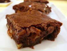 """""""Katharine Hepburn brownies-This recipe accompanied a 1975 Ladies Home Journal interview with Katherine Hepburn and was revitalized by Saveur.  These brownies are amazing. (I encountered these at a backyard BBQ about 30 years ago. Within minutes of tasting one, I seriously considered grabbing the brownies and running.  They are that good.  But I restrained myself and hunted down the donor. I got the recipe and I have been making them ever since.  Just don't over bake them. They must be gooey.)"""""""
