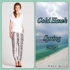 Madly in Love with our New Gold Hawk python pants!! The Perfect Pant to Dress Down with a cute t-shirt and sandals or Dress Up with heels and a gorgeous top. Only Available at Free Shop!!