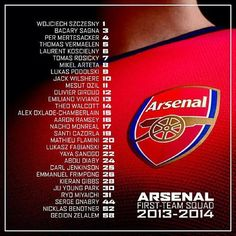 Pretty killer squad for Arsenal this year.