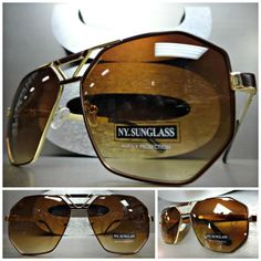 d80ef026509 New CLASSIC VINTAGE 70s RETRO AVIATOR Style SUN GLASSES Large Gold  amp   Brown Frame