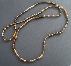 Golden beaded necklace single string shades of by LiloLilsEmporium