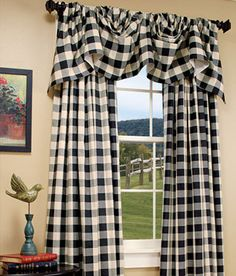 Buffalo Check Lined Austrian Valance - this comes in navy blue check for kitchen $65 each at Country Curtains