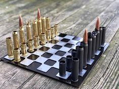 Bullet Casing Crafts, Bullet Crafts, Bullet Art, Bullet Shell, Diy Chess Set, Chess Sets, Gun Shell Crafts, American Flag Wood, Scrap Metal Art