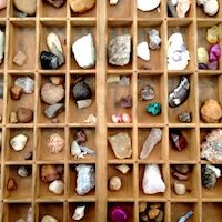 antique letterpress printers tray for storing and displaying kids' rock and stone collections