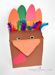Recycle an empty garbage bag box into a fun turkey craft! Use the turkey for kids activities or as decoration for Thanksgiving. My favorite is the 'Guess What the Turkey Ate Game!'