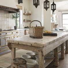 Luxurious, rustic, elegant European inspired kitchen with antique work table in Milieu magazine with design by Cathy Chapman. Photo by Peter Vitale, Architect: Home Front Build. Come see 24 Inspiring European Country Kitchen Ideas! Rustic Kitchen Island, Rustic Kitchen Design, Kitchen Islands, Kitchen Layout, Eclectic Kitchen, Kitchen Modern, Rustic Country Kitchens, French Cottage Kitchens, Rustic Design
