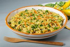 Creamy Orzo and Vegetables - Kidney-Friendly Recipes - no peas; no curry