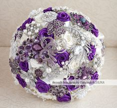 Brooch bouquet. Deposit on a Purple, Ivory and silver wedding brooch bouquet, Jeweled Bouquet. on Etsy, $60.00