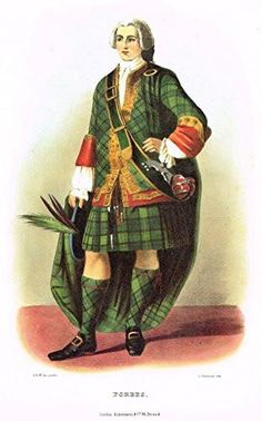 Colored engraving which is a reproduction of THE CLANS AND TARTANS OF SCOTLAND by R.R. McIan, originally introduced in 1845. It was published in London in 1988
