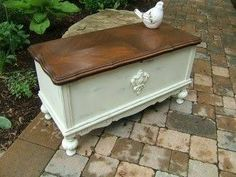 Image result for wooden trunk painted white