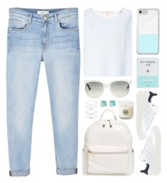 """OOTD - Aqua Stripes"" by by-jwp ❤ liked on Polyvore featuring BP., MANGO, Ray-Ban, adidas Originals, Marina Hoermanseder, Kocostar, Kate Spade and Accessorize"