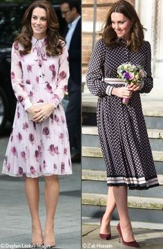 Comparison photo, Duchess Catherine in Kate Spade dresses. Right picture - November pregnant with child Kate And Pippa, Kate And Meghan, Kate Middleton Prince William, Prince William And Kate, Kate Dress, Dress Up, Estilo Real, Kate Middleton Style, Event Dresses