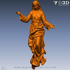 Vista frontal de la Virgen separada para fresado