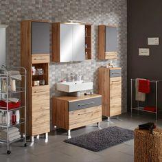 Waschbeckenunterschrank Eiche online shoppen Vanity, Bathroom, Engineered Wood, Closet Storage, Drawers, Oak Tree, Bath Room, Dressing Tables, Washroom