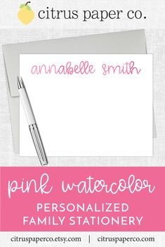 Personalized stationery, just for kids!  Each set of flat note cards is printed on high-quality white cardstock, includes your choice of envelopes, and is packaged in a crystal clear box.  Perfect for casual correspondence or thank you notes, these note cards make the perfect gift!  \\ girls stationery \\ kids stationery \\ watercolor Kids Stationery, Custom Stationery, Personalized Stationery, Thank You Notes, Thank You Cards, Watercolor Girl, Stationary Set, Return Address Labels, Papers Co