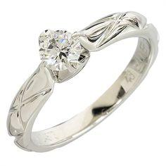 Chanel 950 Platinum Diamond Matelasse Solitaire Ring US Size 4.5 With Box/Cert