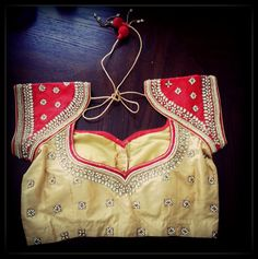 Golden blouse with beautiful kundan work and padded by Sravams, $90.00