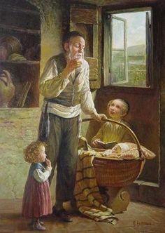 Elena Flerova -Grandpa- Jewish Art Oil Painting