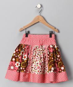 Brown and Pink flower ruffle skirt