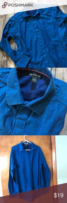 Blue Oxford shirt by INC International Concepts Royal blue button down shirt by INC. buttons are concealed. This is an XL TALL. INC International Concepts Shirts Casual Button Down Shirts