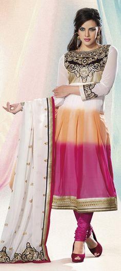 94205, Party Wear Salwar Kameez, Anarkali Suits, Salwar Kamez, Georgette, Resham, Lace, Multicolor Color Family $81
