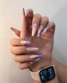 Pink Acrylic Nails, Purple Nails, Acrylic Nail Designs, Dope Nail Designs, Purple Nail Designs, Pastel Nail, Pink Nail Art, Coffin Nails, Gel Nails