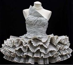 ℘ Paper Dress Prettiness ℘ art dress made of phonebook by Jolis Paon Paper Fashion, Origami Fashion, Fashion Art, Fashion Design, Dress Fashion, Fashion History, Daily Fashion, Runway Fashion, High Fashion