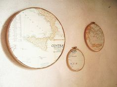 Map Decoration Ideas Frame vintage maps with cross-stitch holders, or display them in numerous other ways.Frame vintage maps with cross-stitch holders, or display them in numerous other ways. Embroidery Designs, Vintage Embroidery, Embroidery Hoops, Globe Decor, Map Globe, Framed Maps, Vintage Maps, Vintage Map Decor, Antique Maps