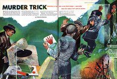 """Murder Trick""-William Francis short story (1950) Illustration: David Stone Martin."