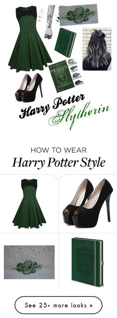 """Skytherin Harry Potter"" by samanthacouto on Polyvore featuring WithChic and Brumlow"