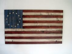 Hand Crafted Americana Wood Betsy Ross Style Flag by TheMensMall