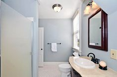 Traditional Full Bathroom with penny tile floors, flush light, Madeira drop in bathroom sink in white, High ceiling